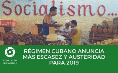 Régimen cubano anuncia más escasez y austeridad para 2019
