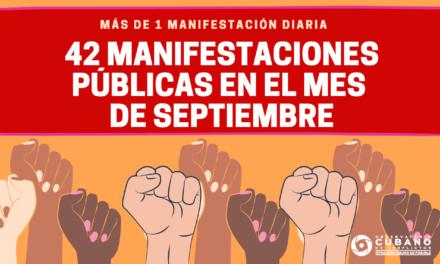 42 manifestaciones públicas en el mes de septiembre