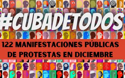 Cuba es de todos: 122 manifestaciones públicas de protestas en diciembre