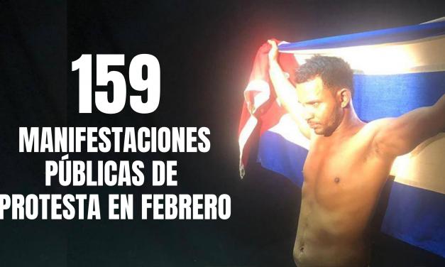 CUBA: 159 MANIFESTACIONES PÚBLICAS DE PROTESTA EN FEBRERO